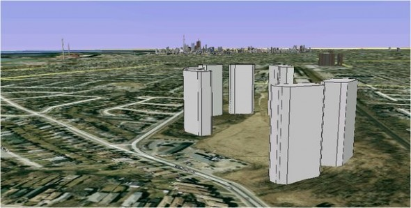 Artist rendering of high-rise towers proposed by Conservatory Group