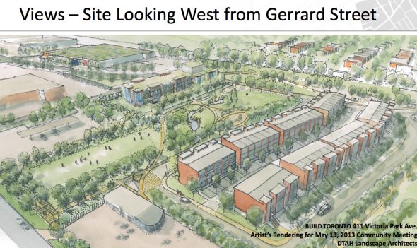 View: Looking west from Gerrard at the proposed Build Toronto development in the Quarry
