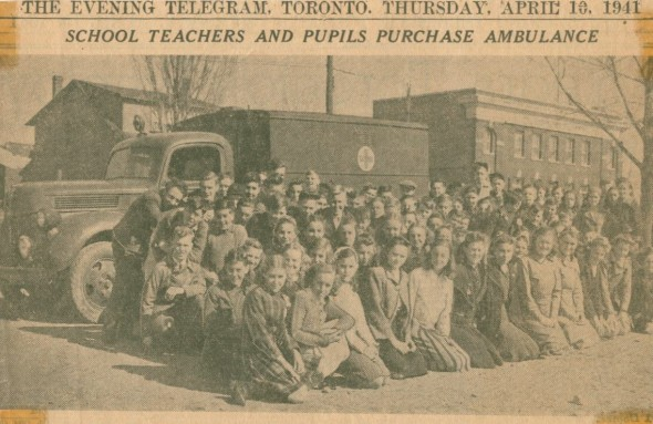 In 1941 Birch Cliff students joined others in Toronto to purchase an ambulance for the WWII war effort.