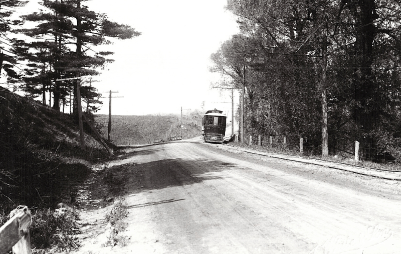 Radial car traveling westbound just east of Birch Cliff, 1915. Photo courtesy of Scarborough Archives.