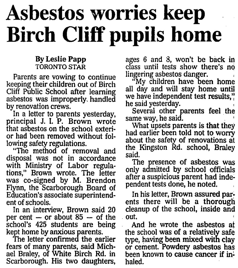 Asbestos - pupils kept home