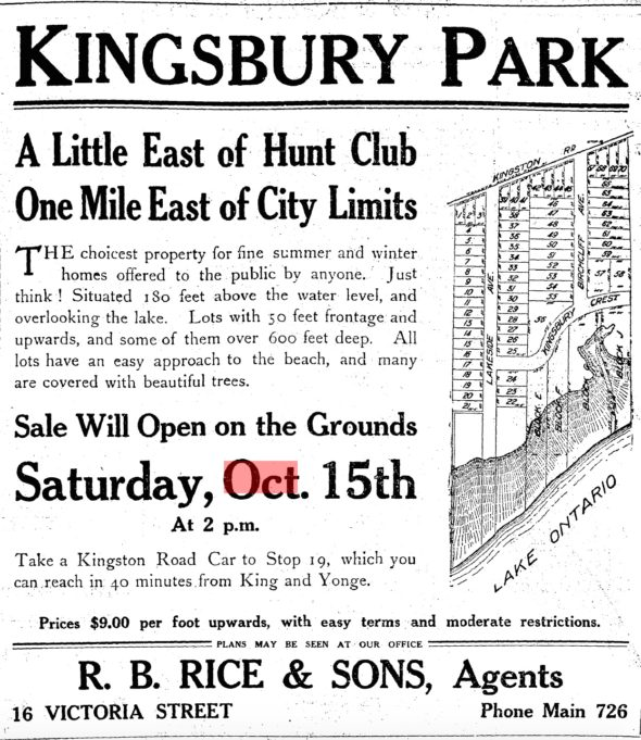 Kingsbury Park advertisement, 1910