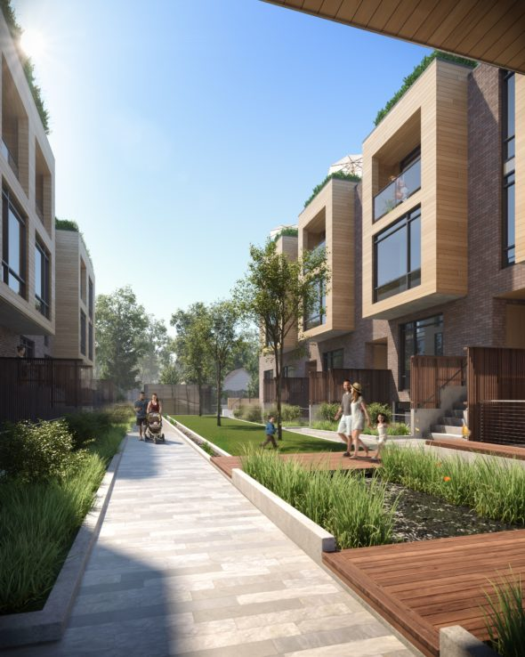 Rendering of the courtyard of new townhome project at Kingston Rd. and Birchcliff Ave.